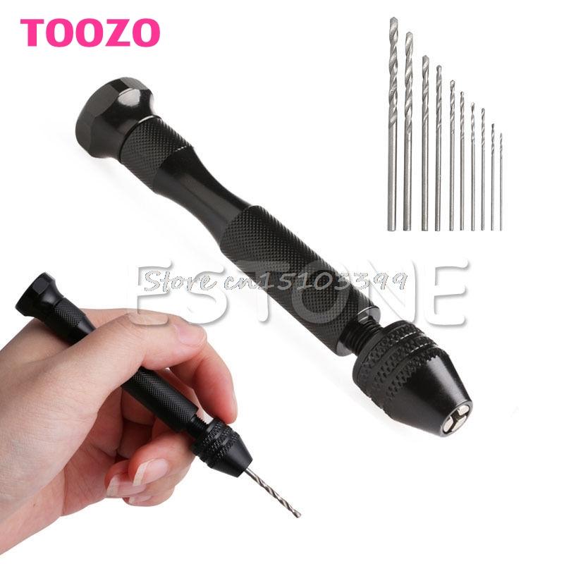 [해외]미니 마이크로 알루미늄 핸드 드릴 열쇠가없는 척 + 10 개 트위스트 드릴 로타리 도구 G205M 최고의 품질/Mini Micro Aluminum Hand Drill Keyless Chuck +10pcs Twist Drills Rotary Tools G205M