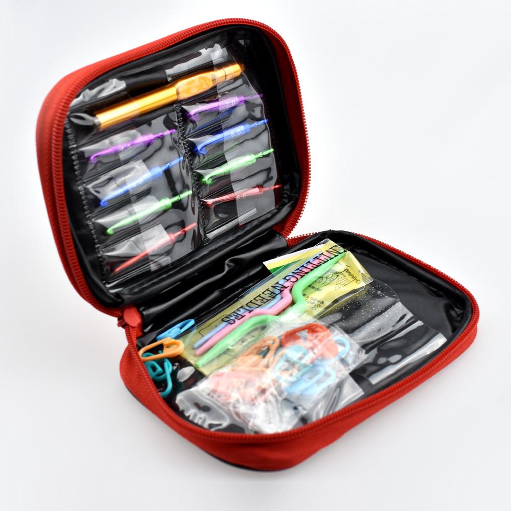 [해외]Looen 브랜드 32pcs / set 알루미늄 상호 교환 가능 후크 헤드 세트 분리형 후크 니들 스웨터 크로 셰 뜨개질 도구 가방/Looen Brand 32pcs/set  Aluminum Interchangeable Hook Head Set Detachable