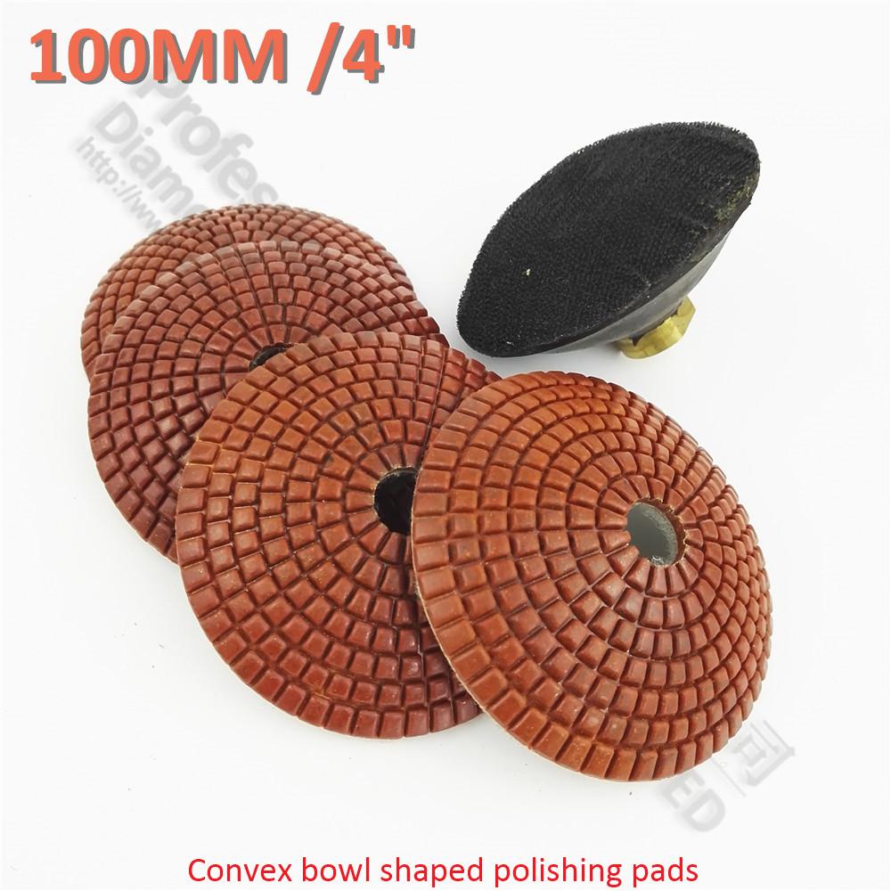 [해외]4pcs 4 & 50 볼록한 젖은 다이아몬드 연마 패드 M14 고무 후방 100MM 사발은 샌딩 디스크를 형성했다/4pcs 4& 50 convex wet diamond polishing padsM14 rubber backer 100MM bowl shape