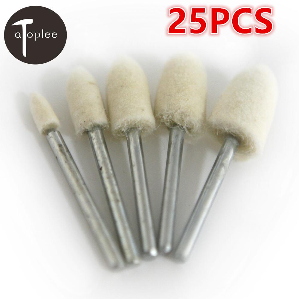 [해외]Atoplee 25pcs 4 / 6 / 8 / 10 / 12mm 5size Wool Polishing 연삭 버프 휠 3mm Shank Head Dremel 액세서리 로타리 공구/Atoplee 25pcs 4/6/8/10/12mm 5size Wool Polishin