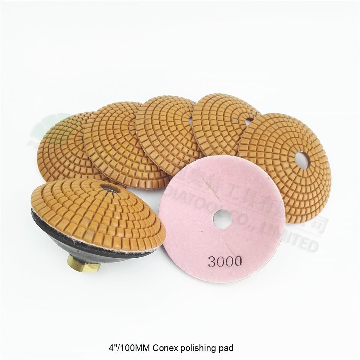 [해외]DIATOOL 7 piece 4 & Grit 3000 bowl 모양의 습식 다이아몬드 연마 패드 1pc 지지대 직경 100mm 볼록 샌딩 디스크/DIATOOL 7pcs 4& Grit 3000 bowl shaped wet diamond polishing p