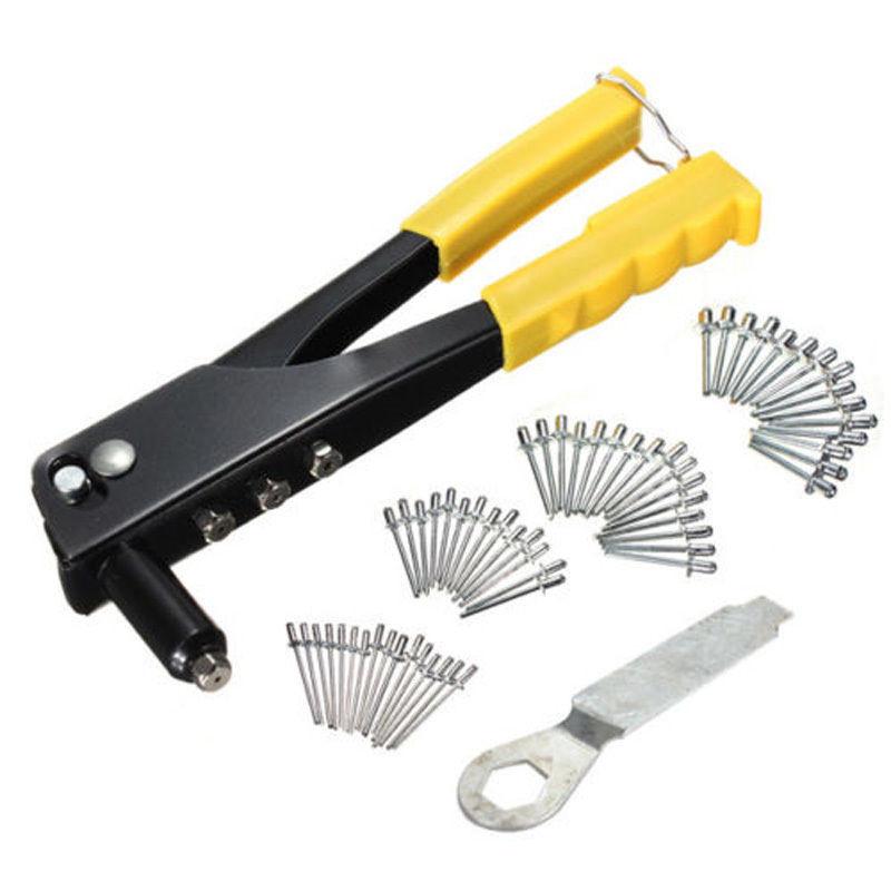 [해외]팝 리베 터 건 키트 블라인드 리벳 핸드 툴 세트 거터 수리 헤비 듀티 렌치 및 40 리벳/Pop Riveter Gun Kit Blind Rivet Hand Tool Set Gutter Repair Heavy DutyWrench and 40 Rivets
