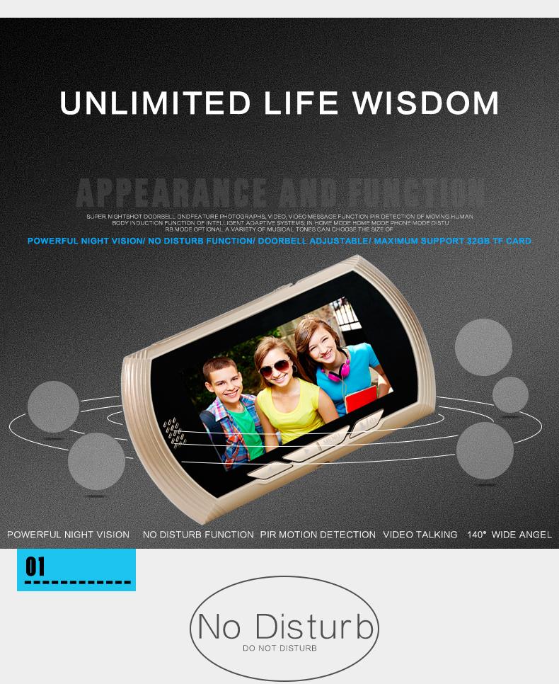 [해외]4.3 및 스마트 디지털 도어 뷰어 카메라 도어 벨 (DoorBell) 비디오 레코더 엿봄 뷰어 나이트 비전 PIR 모션 방해받지 않는 도어 아이/4.3& Smart Digital Door Viewer Camera DoorBell Video Recorder Pe