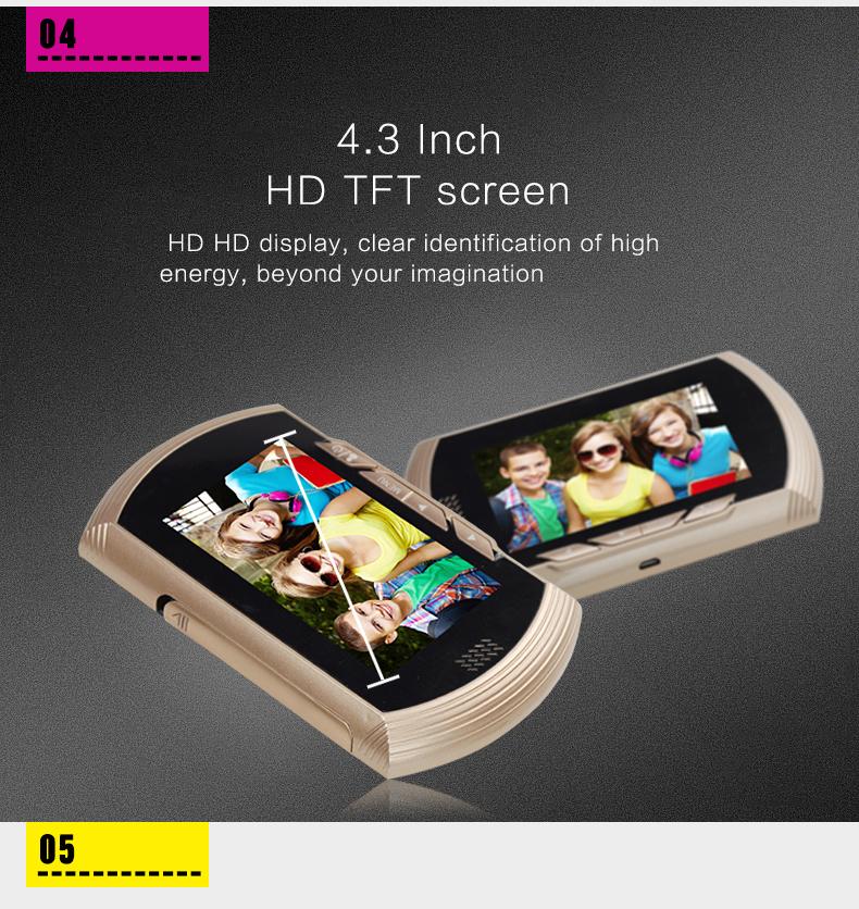 [해외]금속 엿보기 카메라 4.3 인치 TFT 스크린 디지털 도어 뷰어 카메라 DoorBell 비디오 레코더 야간 PIR 모션/Metal Peephole Camera 4.3 inch TFT Screen Digital Door Viewer Camera DoorBell V