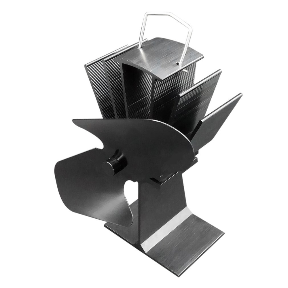 [해외]내구성 2 블레이드 알루미늄 블랙 열 전원 난로 팬 연료 절약 친환경 우드 버너 난로 팬/Durable 2 Blades Aluminum Black Heat Powered Stove Fan Fuel Saving Eco-friendly Wood Burner Stov