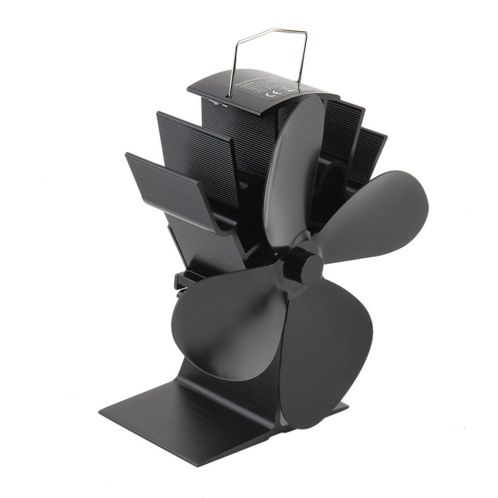 [해외]내구성 4 블레이드 알루미늄 블랙 열 공급 난로 팬 연료 절약 난로 팬 친환경 우드 버너 난로 팬/Durable 4 Blades Aluminum Black Heat Powered Stove Fan Fuel Saving Stove Fan Eco-friendly W