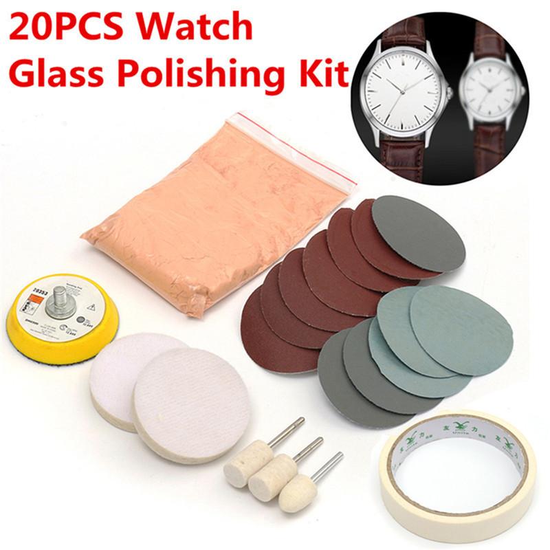 [해외]20pcs / set 시계 유리 연마 키트 유리 스크래치 제거 연마 패드 및 휠 50mm 백업 패드 내구성 품질/20pcs/set Watch Glass Polishing Kit Glass Scratch Removal Polishing Pad And Wheel 5