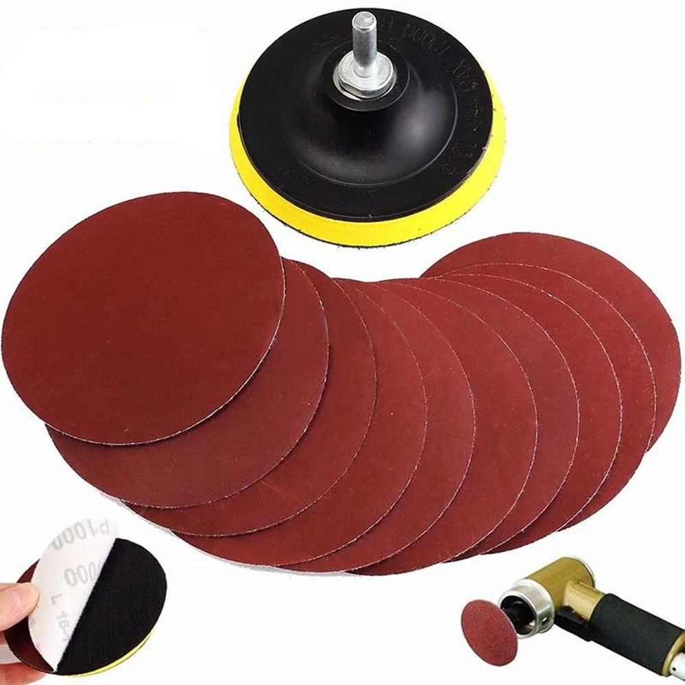[해외]10Pcs 실용 샌딩 디스크 샌더 1000 Grits 4 & 후크 루프 Sanding Backer Pad 100mm + 클리닝 연마 용 섕크 Mayitr/10Pcs Practical Sanding Disc Sander 1000 Grits 4& Hook L