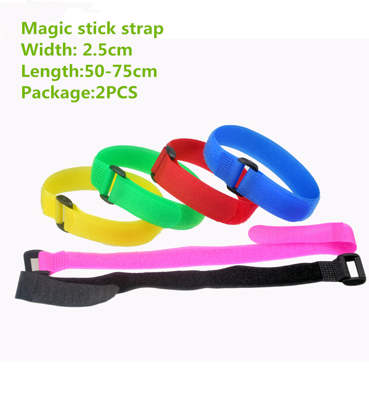 2 pcs mt020 매직 테이프 스트랩 폭 2.5 cm 길이 50-75 cm 케이블 타이 벨트 버클 달아서 테이프 붕대 무작위로 색상 보내기