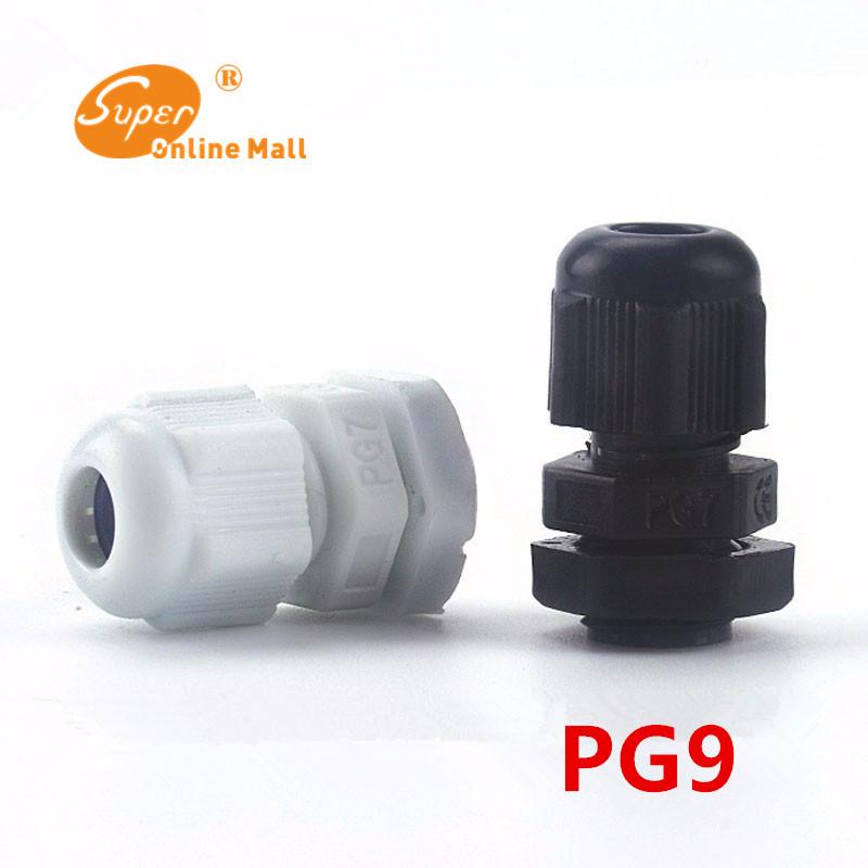 [해외]100pcs / lot 화이트 / 블랙 PG9 나일론 케이블 글 랜드 배선 액세서리 LED 케이블 커넥터 방수/100pcs/lot White/Black PG9 Nylon cable gland Wiring Accessories LED cable connector