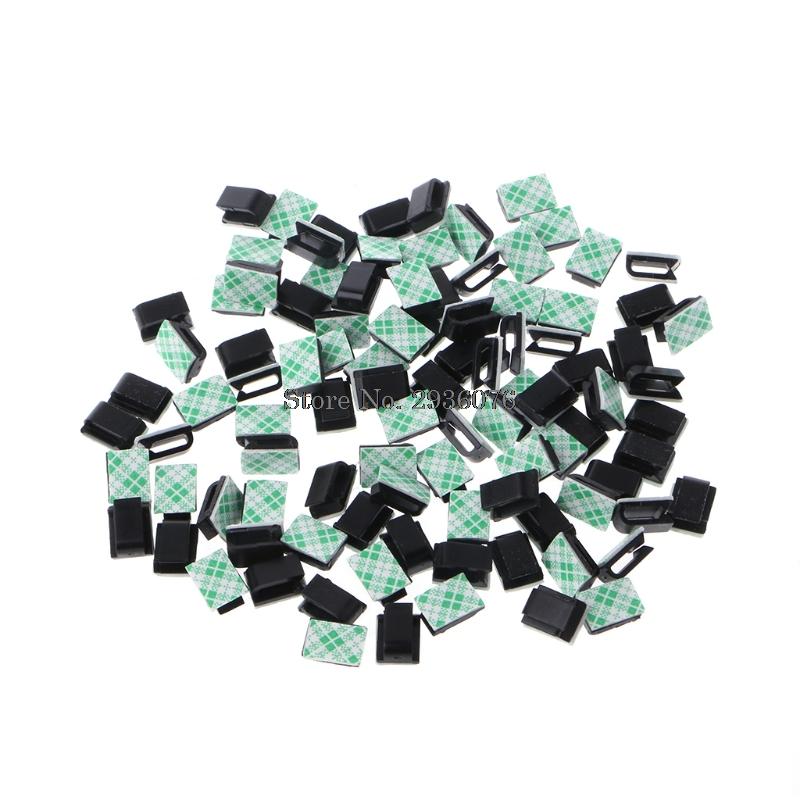 [해외]100Pcs / Set 자기 - 접착제 와이어 타이 사각형 케이블 마운트 클립 클램프/100Pcs/Set Self-adhesive Wire Tie Rectangle Cable Mount Clip Clamp