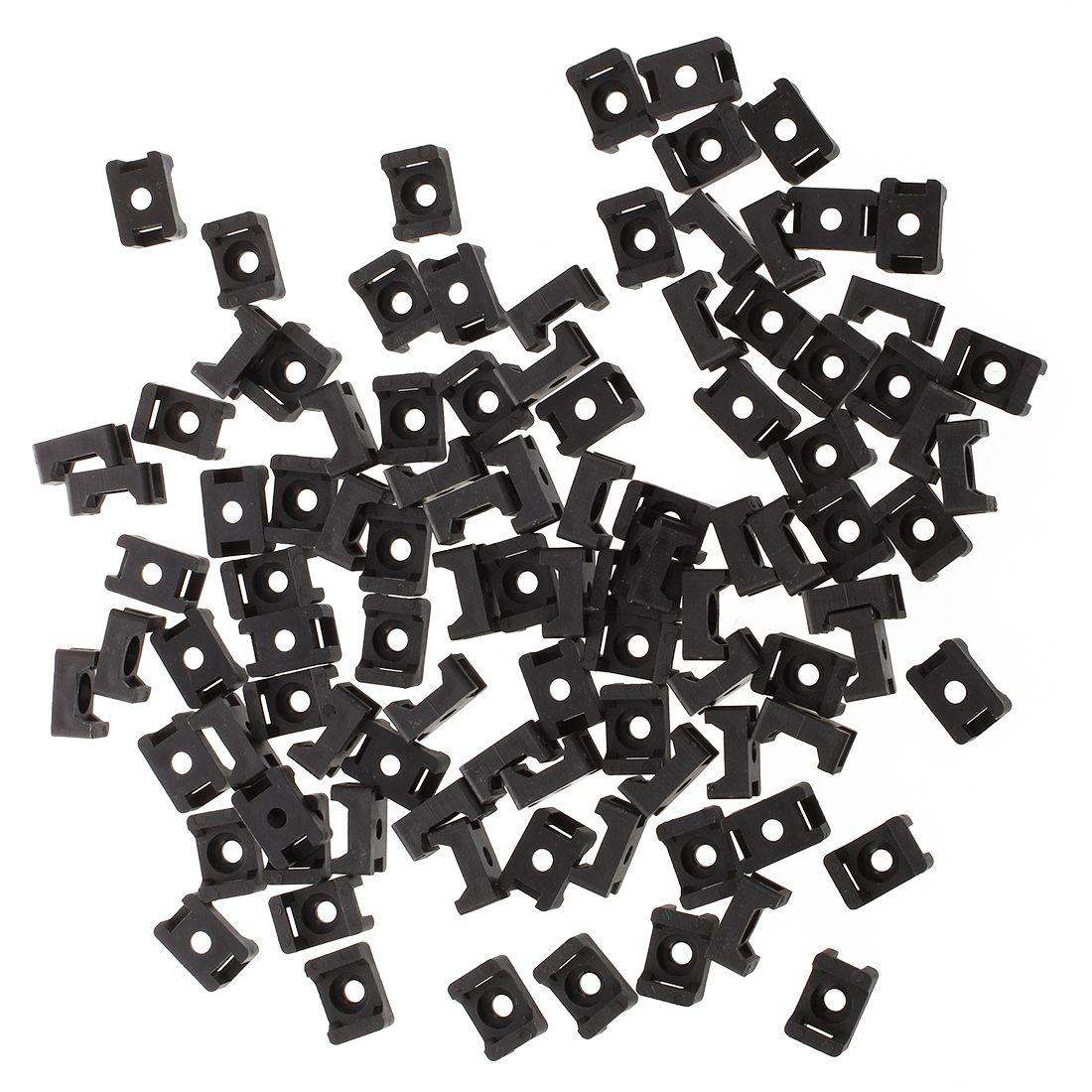 [해외]검은 색 9mm 케이블 타이 마운트 안장 유형 플라스틱 와이어 번들 홀더 100PCS/Black 9mm Cable Tie Mount Saddle Type Plastic Wire Bundle Holder 100Pcs