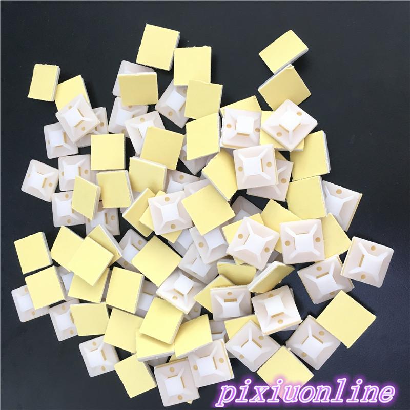 [해외]100pcs DS144Y 20mm * 20mm 흰색 지퍼 타이 자기 접착 케이블 클립 케이블 타이 마운트 와이어 고정 홀더 클램프 켜기/100pcs DS144Y 20mm*20mm White Zip tie Self Adhesive Cable Clips Cable