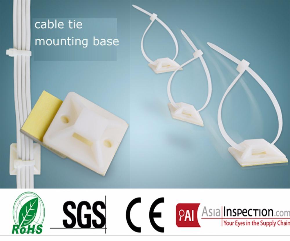 [해외]25 * 25mm 정사각형 자기 접착 성 플라스틱 케이블 타이는 새로 출시 된 와이어 번들 홀더를 흰색 나일론 지퍼 타이베이스에 고정시킵니다./25*25mm Square Self-adhesive plastic cable tie mounts white nylon