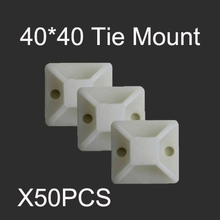 [해외]50PCS 40 * 40 Diy 케이블 와이어 지퍼 타이 클램프 클립 20mm 자기 접착제 장착베이스 흰색/50PCS 40*40 Diy Cable Wire Zip Tie Clamps Clip 20mm Self Adhesive Mounting Base white