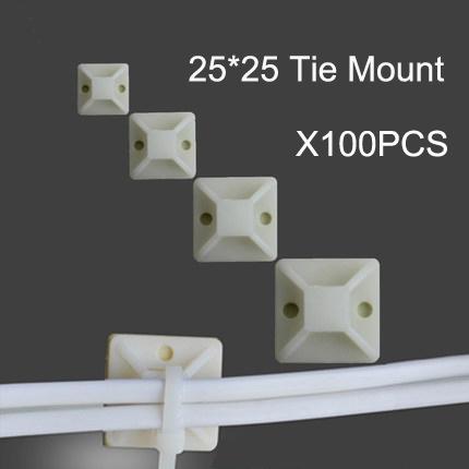 [해외]100pcs 25 * 25 화이트 색상 나일론 케이블 타이 장착베이스 클램프 와이어 ZIP/100pcs 25*25 white Color Nylon CABLE TIE MOUNTING BASE Clamp WIRE ZIP