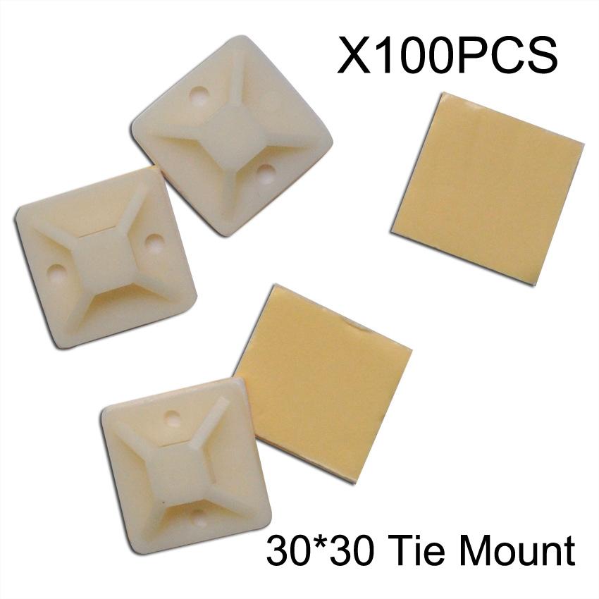 [해외]100 개 / 팩 30 MM 마운팅베이스 클램프 클립 자기 접착 케이블 와이어 지퍼 타이/100 Pcs/Pack 30 MM Mounting Base Clamps Clip Self Adhesive Cable Wire Zip Tie