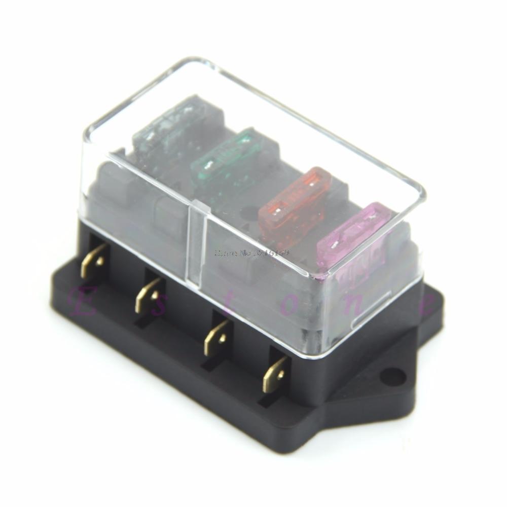 [해외]핫 판매용 4 웨이 퓨즈 박스 블록 퓨즈 홀더 박스 자동차 자동차 회로 자동차 블레이드 프로모션/For hot-selling 4 Way Fuse Box Block Fuse Holder Box Car Vehicle Circuit Automotive Blade Pr
