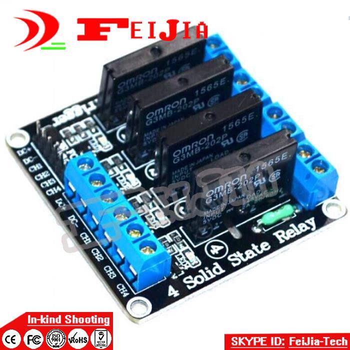 [해외]아드의 uino 4 채널 5V DC 릴레이 모듈 솔리드 스테이트 높은 수준의 OMRON SSR AVR DSP/4 Channel 5V DC Relay Module Solid State High Level OMRON SSR AVR DSP for Ard uino