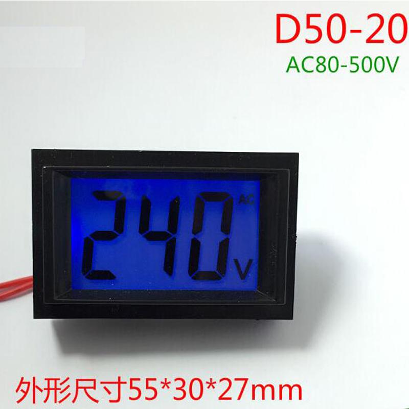 무료 배송 미니 크기 고정밀 lcd 디지털 디스플레이 ac 전압계 AC80-500 (v) 측정 범위