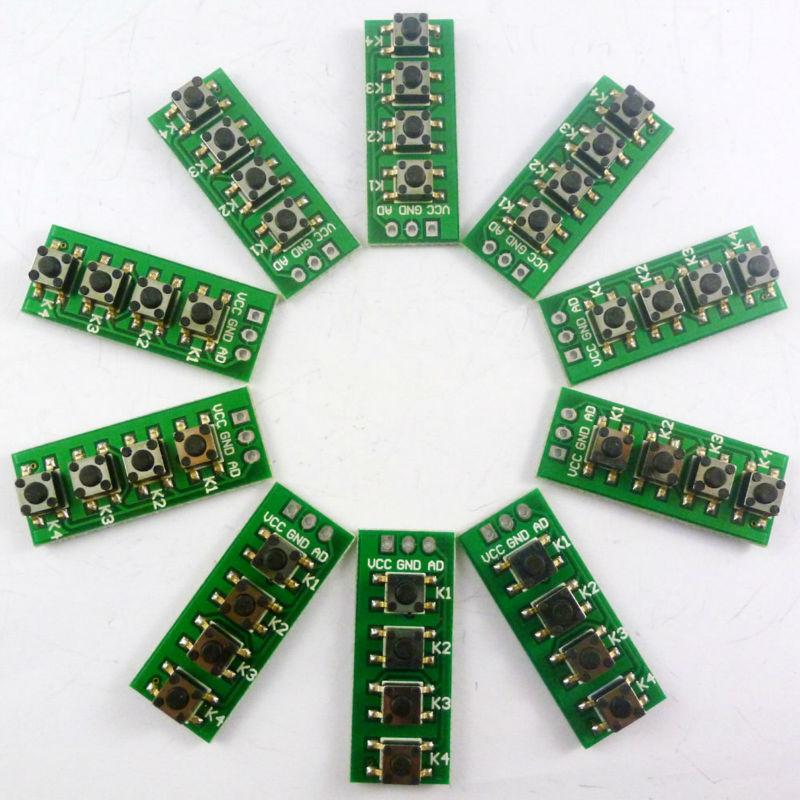 [해외]10PCS AD 키패드] 4 액세서리 보드 매트릭스 버튼 제어 ADC 포트 키보드/10PCS AD Keypad]4 Accessory board matrix buttons controlled ADC port keyboard