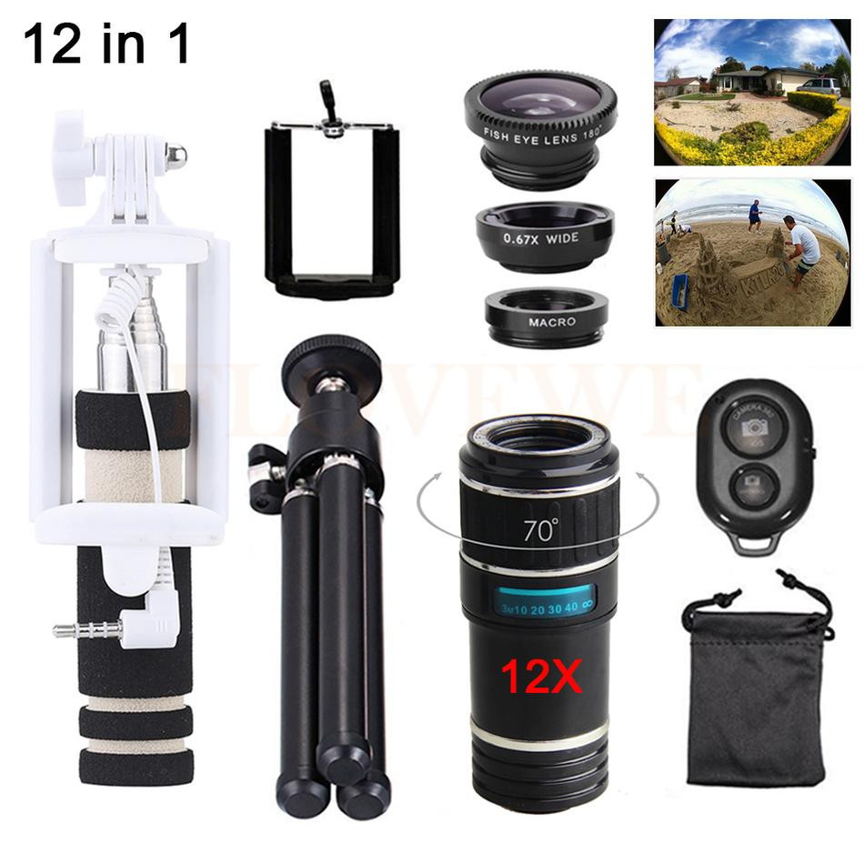 [해외]폰 렌즈 키트 12 배 줌 망원 렌즈 망원경 + 삼각대 홀드 + 어안 렌즈 와이드 앵글 아이폰 4 5 5C 5S 6 6S 7 Plus/Phone Lens Kit 12X Zoom Telephoto Lenses Telescope+Tripod Holde+Fisheye