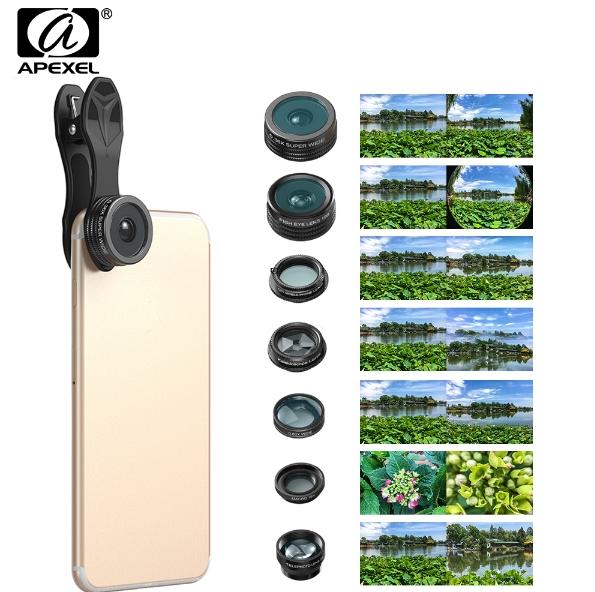 [해외]APL-DG7 7 인치 폰 렌즈 키트 7 개 Fisheye fish eye super 와이드 앵글 매크로 렌즈 CPL 필터 만화경 및 2X 줌 렌즈 (PHONE 용)/APL-DG7 7 in 1 Phone Lens Kit Fisheye fish eye super