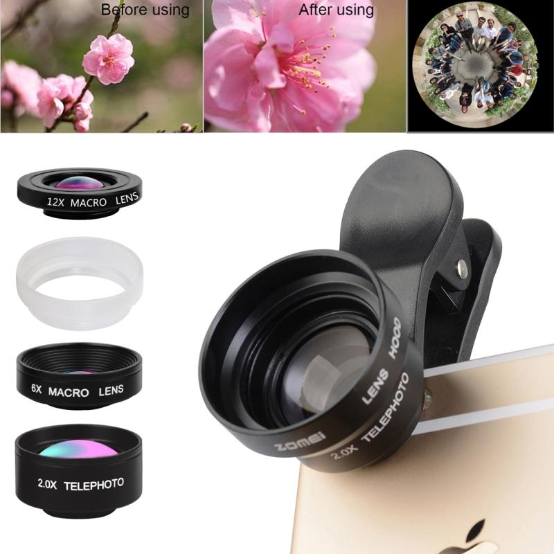 [해외]아이폰 7 플러스 카메라 0.36X 와이드 유니버설 전화 렌즈 180도 6X 12X 매크로 필터 투명 아크릴 두건 클립/Universal Phone Lenses For iPhone 7 Plus Camera 0.36X Wide Angle 180 Degrees 6X
