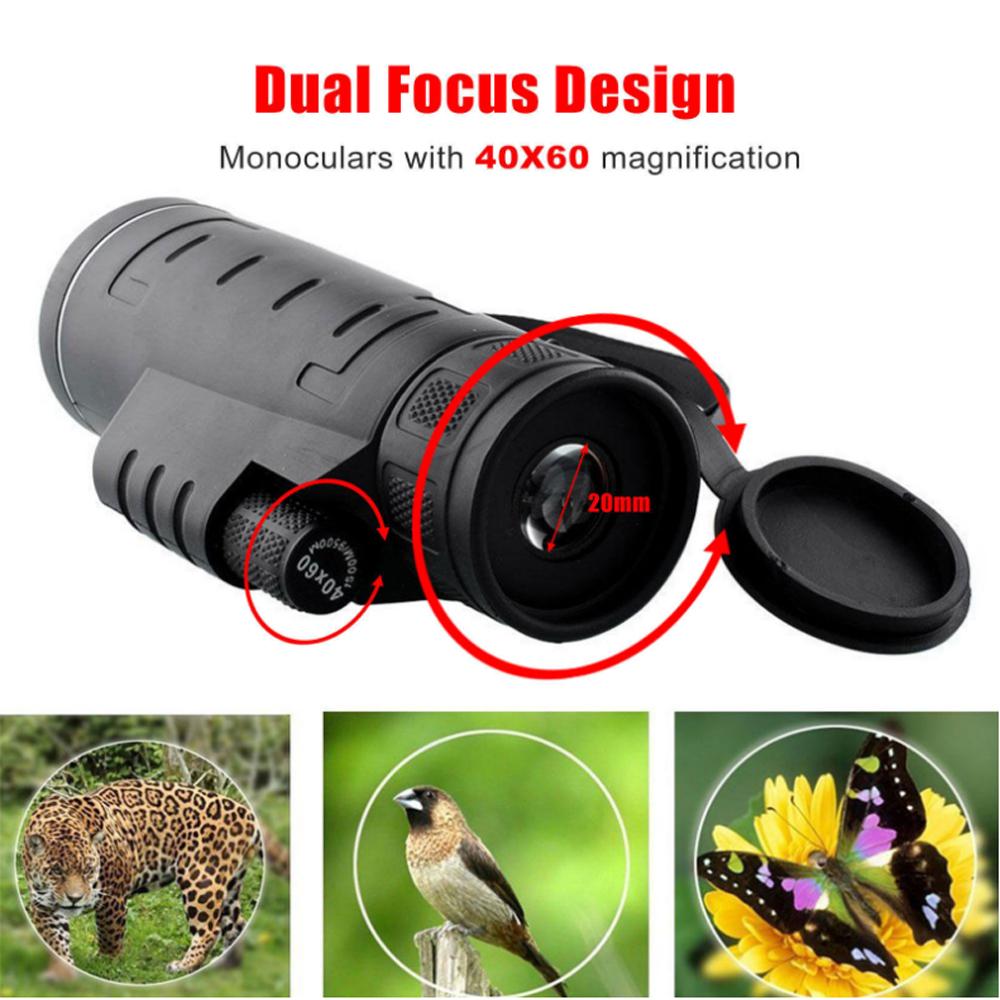 [해외]고화질 야외 망원경 HD 40x60 단안 용 휴대 전화 야간 투시경 안경/High Definition Outdoor Telescope HD 40x60 Monocular for Mobile Phone Night Vision Field Glasses