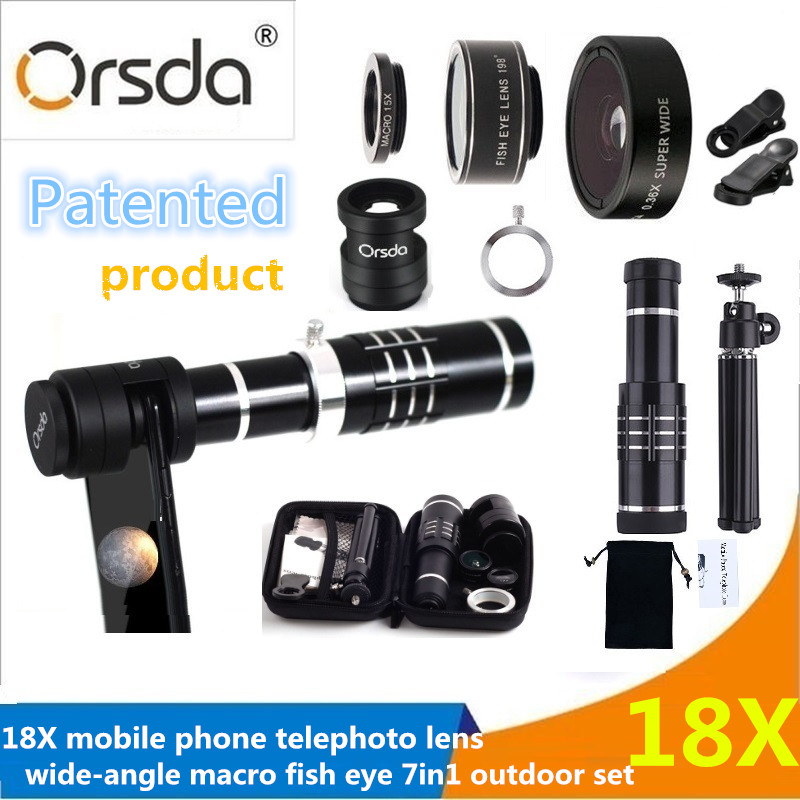 [해외]Orsda 7 in1 18x 줌 광학 망원경 망원 Lens0.36X 와이드 앵글 15X 매크로 198도 Fisheye Kit 전화 카메라 Lentes/Orsda 7 in1 18x Zoom Optical Telescope Telephoto Lens0.36X Wid