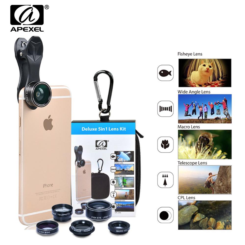 [해외]APEXEL 범용 클립 5in1 휴대 전화 렌즈 키트 피쉬 아이 와이드 앵글 매크로 2X 아이폰 6 7 8 엑스 망원 렌즈 용 스마트 폰/APEXEL Universal Clip 5in1 Mobile Phone Lens Kit Fish Eye Wide Angle