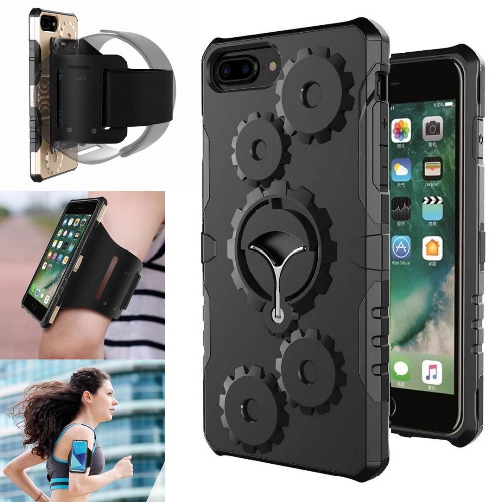 [해외]전화 뒤 쉘 체육관 스포츠 완장 스탠드 아이폰 7 플러스 액세서리 실행 전화 파우치 벨트 헤비 듀티 커버 암 밴드 케이스/Phone Back Shell Gym Sport Armband Stand for iphone 7 Plus Accessories Running