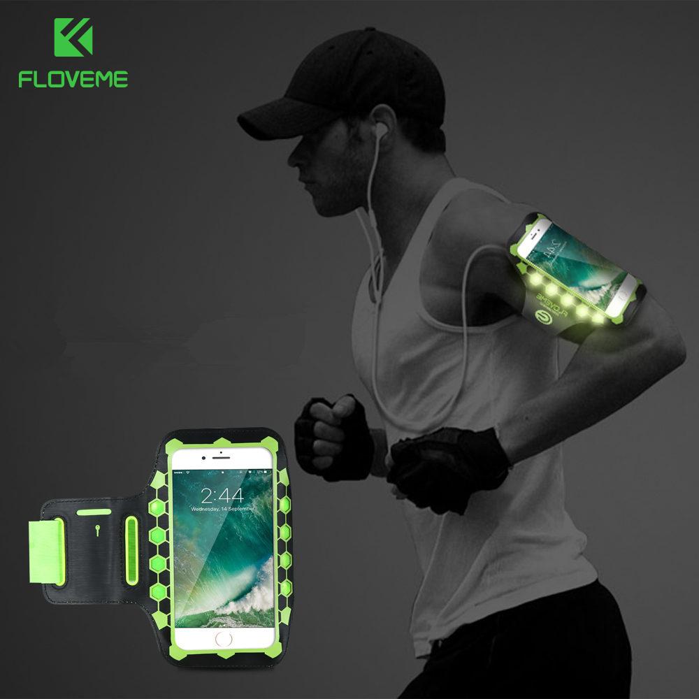 [해외]FLOVEME LED 스포츠 실행 완장 범용 휴대 전화 체육관 완장 아이폰 7 6 6S 플러스 8 피트니스 핸드폰 가방 케이스 커버/FLOVEME LED Sport Running Armband Universal Mobile Phone Gym Armband Fit