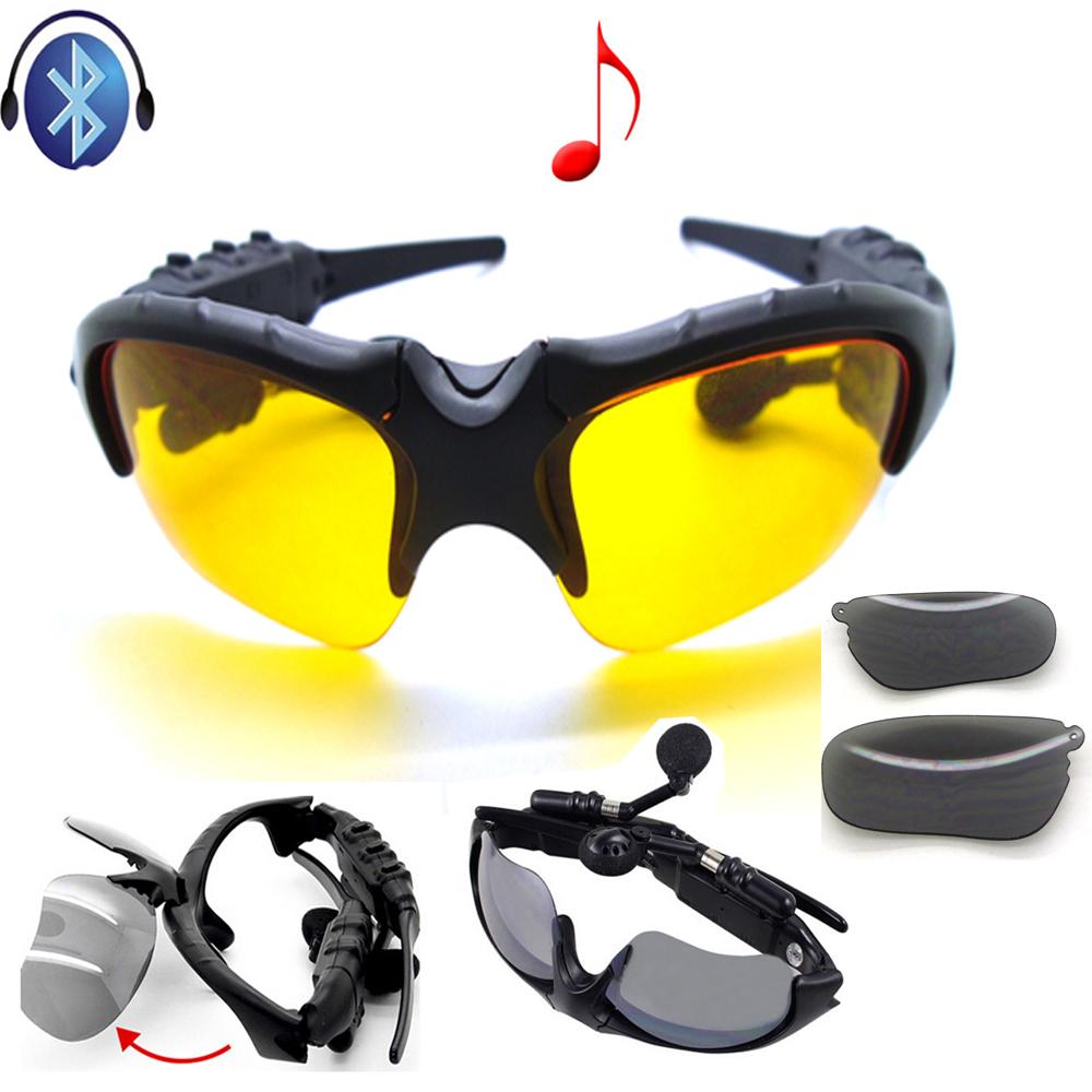 [해외]무선 스테레오 블루투스 선글라스 밤 안경 헤드셋 이어폰 헤드폰 + 2 개 밤 글래스 렌즈/Wireless Stereo Bluetooth Sunglasses Night Glasses Headset Earphone Headphone +2pcs Night Sungla