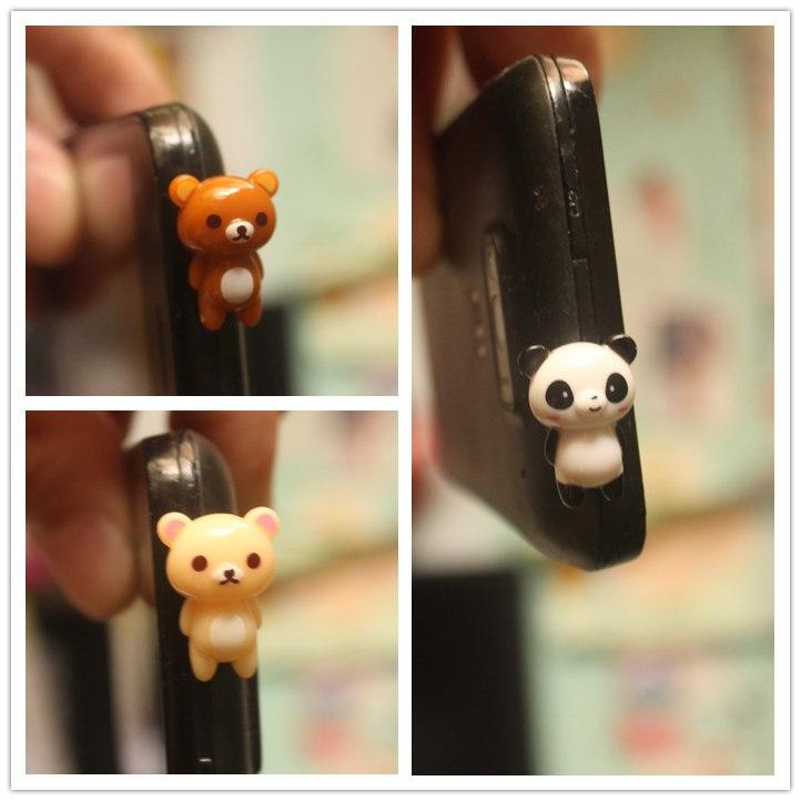 [해외]??300pcs / lot kawaii 고품질 Rilakkuma 팬더 휴대 전화 귀여운 애니메이션 귀에 이어폰 캡에 대한 안티 먼지 플러그/  300pcs/lot kawaii high quality Rilakkuma Panda Anti dust plug for