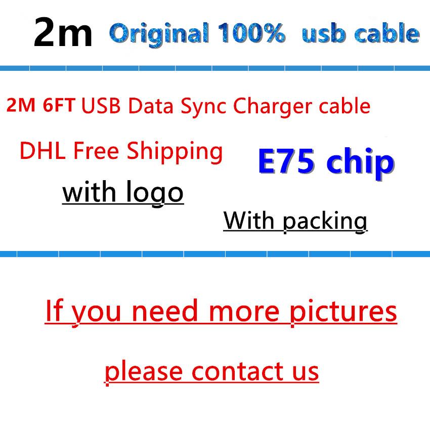 [해외]100 %  기존 2m / 6ft E75 칩 OD : 3.0mm 데이터 USB 충전기 i 5 5s 6 6s 7 pluspackaging /100% Genuine Original 2m/6ft E75 Chip OD:3.0mm Data USB charger Cable