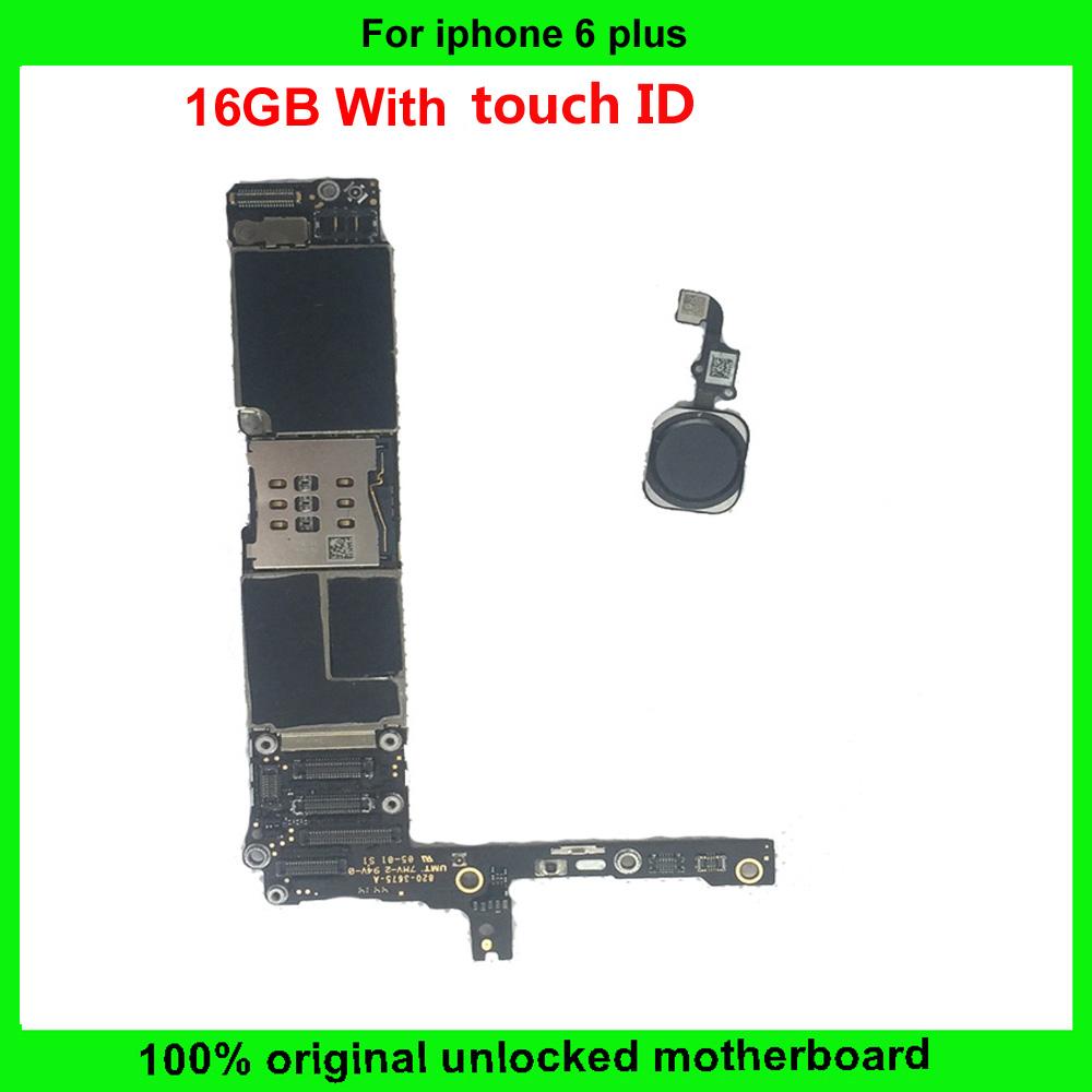 [해외]16GB 100 % 아이폰 6 플러스 마더 보드 터치 ID에 대한 오리지널 잠금 해제 메인 플레이트 아이폰 6plus 메인 보드 근무 IOS 시스템/16GB 100% Original unlocked main plate for iphone 6 plus Mother