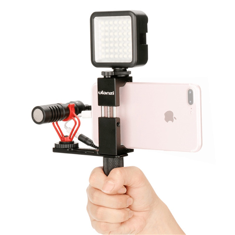 [해외]Ulanzi Smartphone Video Rig Handle 그립 금속 삼각대 마운트 어댑터, iPhone 용 LED 조명 마이크 용 범용 콜드 슈 마운트/Ulanzi Smartphone Video Rig Handle Grip Metal Tripod Mount