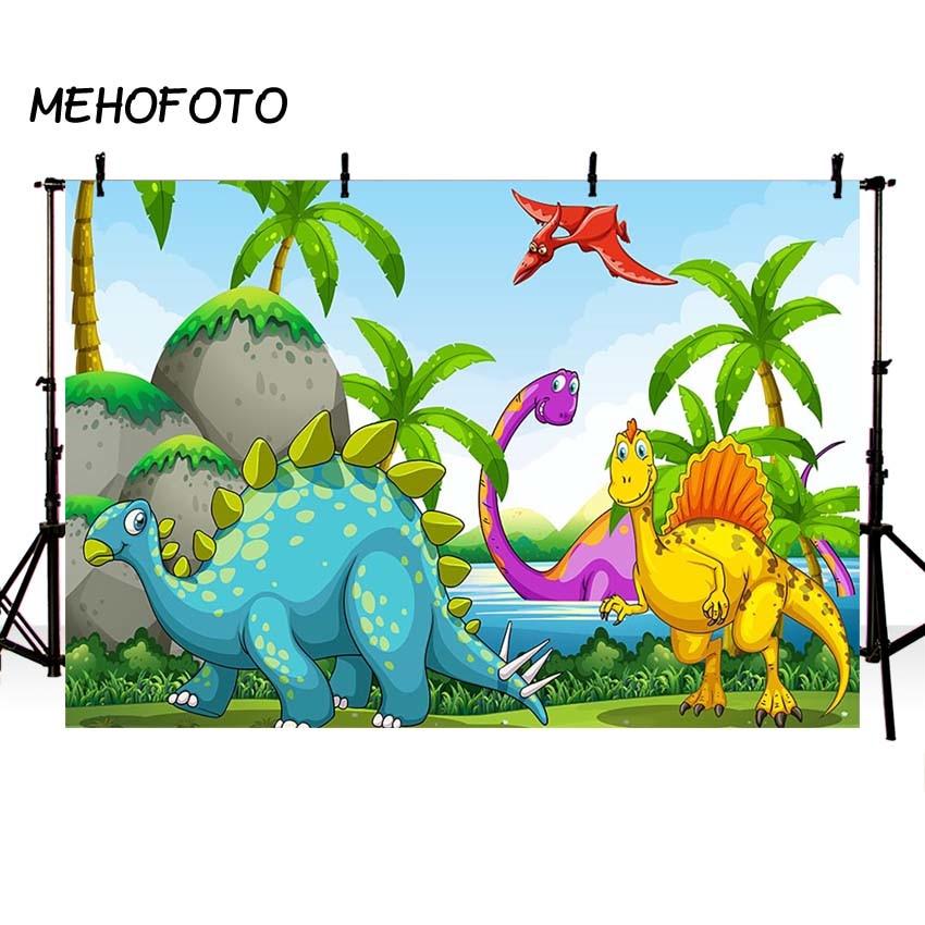[해외]MEHOFOTO 쥬라기 공룡 배경 화면 포리스트 만화 장식 사진 배경 그림 파티 배너 생일 배경/MEHOFOTO Jurassic Dinosaur Backdrops Forest Cartoon Decor Photography Backdrop Pictures Part