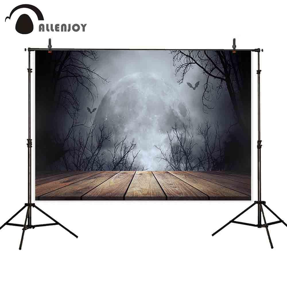 [해외]Allenjoy 사진 배경 어두운 보름달 할로윈 나무 바닥 짜증 포리스트 박쥐 공포 배경 사진 카메라/Allenjoy photography backdrops dark full moon Halloween wooden floor spooky forest bats h