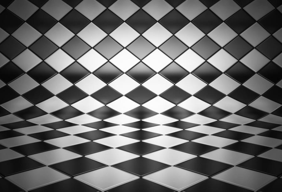[해외]Laeacco 사진 배경 검은 흰색 사각형 패턴 바닥 굴곡 초상화 사진 배경 Photocall 사진 스튜디오/Laeacco Photography Backdrops Black White Square Pattern Floor Bend Portrait Photogra