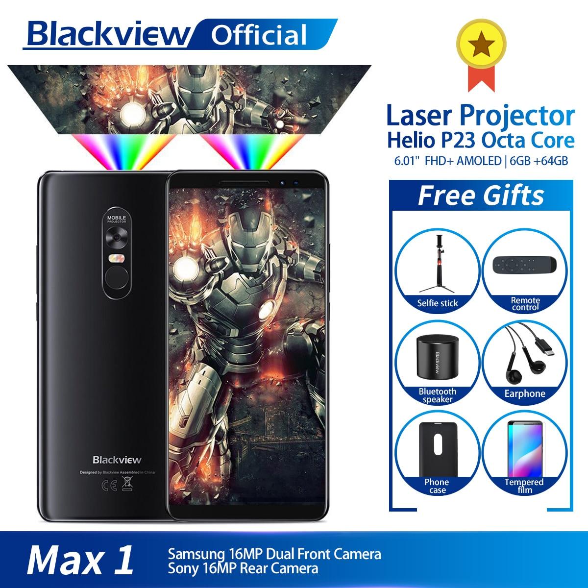 [해외]Blackview MAX 1 Projector Mobile Phone AMOLED 4680mAh 안드로이드 8.1 Mini Projector Portable Home Theater 6GB+64GB Smartphone MAX1/Blackview MAX 1 Proj