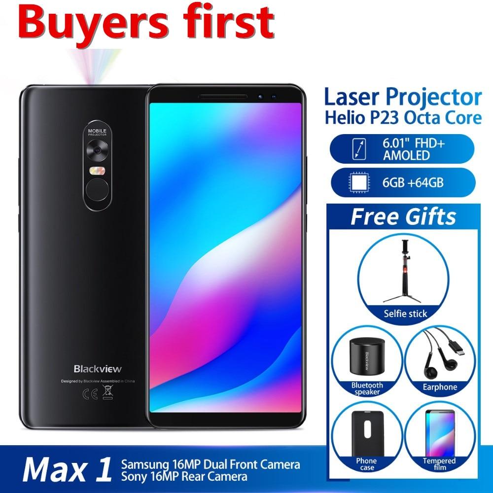[해외]Blackview MAX 1 Projector Mobile Phone 4680mAh 안드로이드 8.1 Mini Projector Portable Home Theater 6GB+64GB NFC 4G LTE Smartphone/Blackview MAX 1 Proje