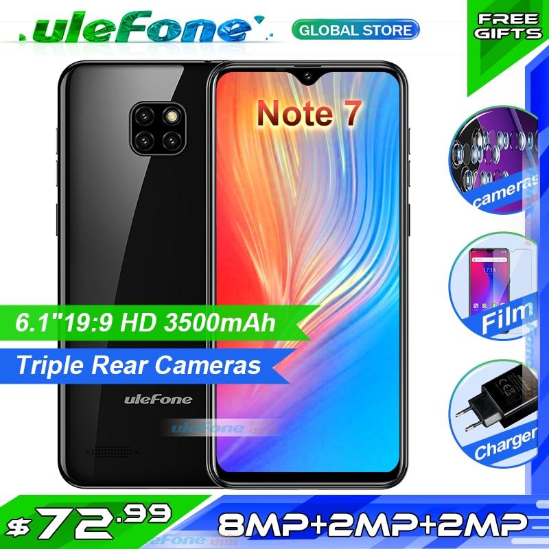 [해외]Ulefone Note 7 Smartphone 6.1 inch 1GB RAM 16GB ROM MT6580A Quad Core 3500mAh Face ID Three Rear Cameras 안드로이드 GO Mobile Phone/Ulefone Note 7 Smar
