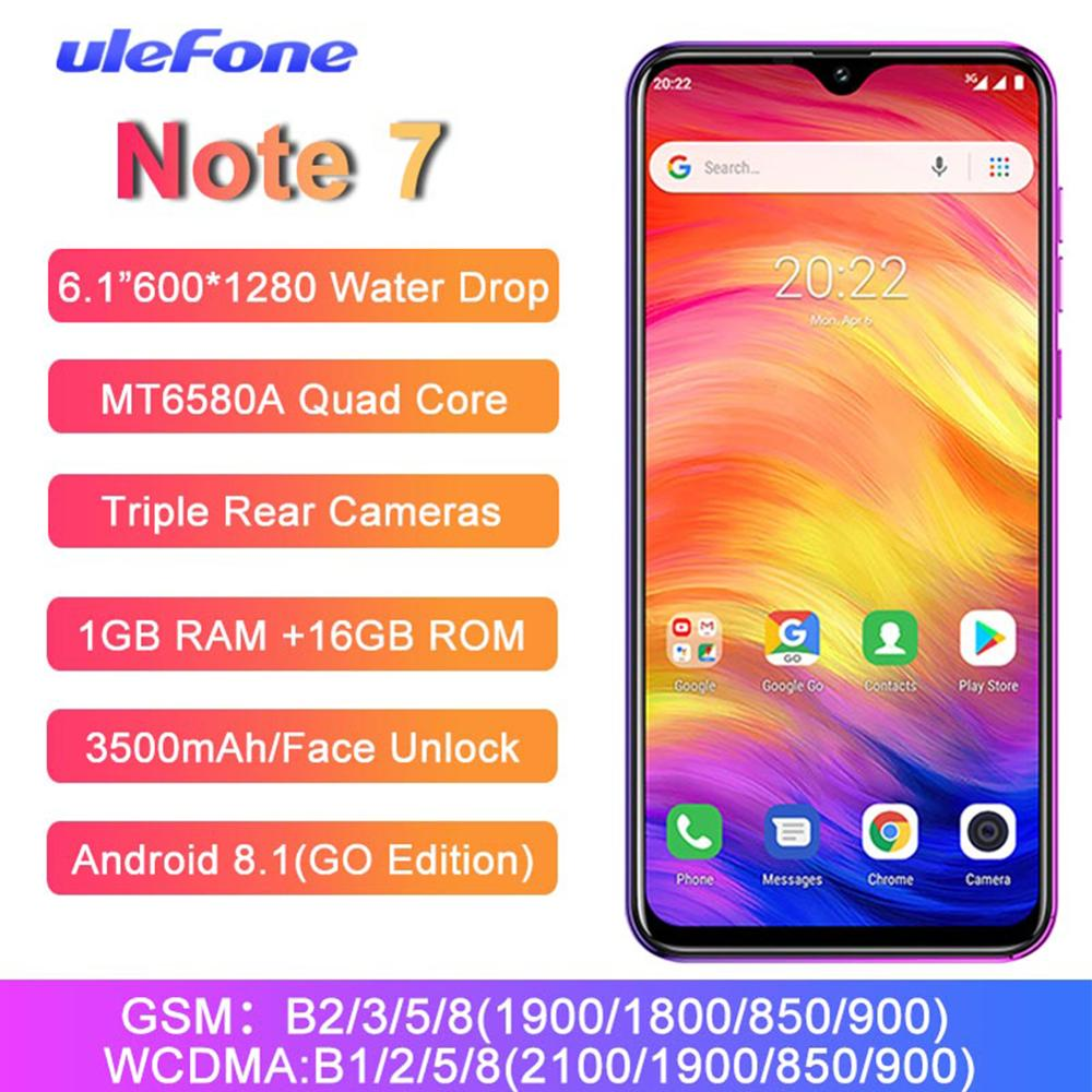 [해외]Ulefone Note 7 Smartphone 6.1 Inch MT6580A Quad Core 3500mAh 1GB RAM 16GB ROM Face ID Three Rear Cameras 안드로이드 GO Mobile Phone/Ulefone Note 7 Smar