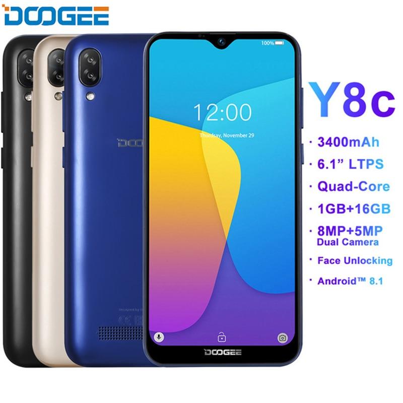 [해외]DOOGEE Y8C 6.1inch Waterdrop Disaplay Smartphone 안드로이드 9.0 MTK6580 1GB 16GB Fingerprint ID 8MP 3400mAh 3G Mobile phone/DOOGEE Y8C 6.1inch Waterdro