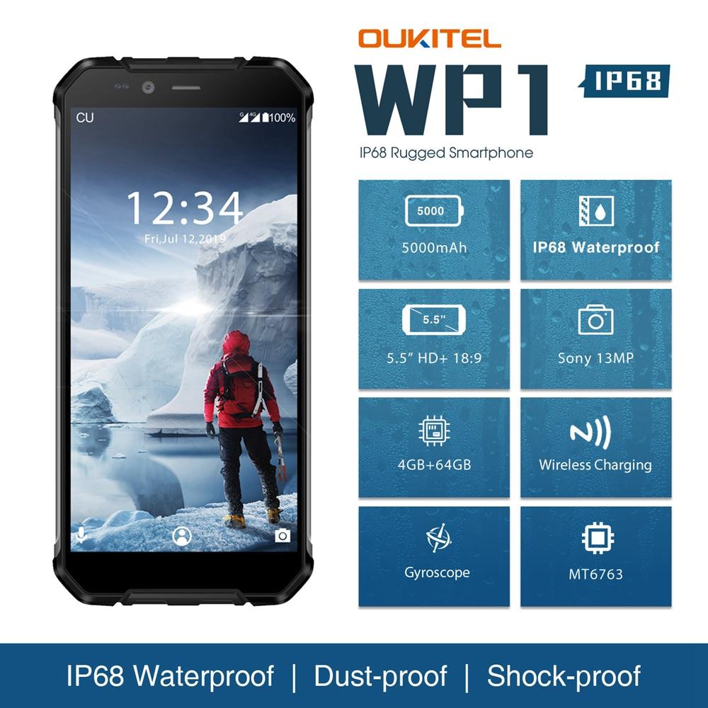 [해외]OUKITEL WP1 IP68 Waterproof 5.5inch MTK6763 Octa Core HD+ 5000mAh 4GB+64GB Wireless Charging Tri-proof Smartphone Dual SIM Card/OUKITEL WP1 IP68 W