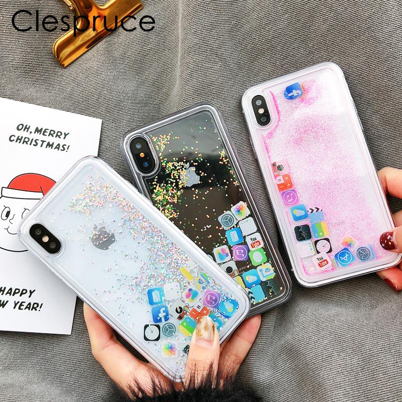[해외]Clespruce 귀여운 재미있는 모바일 애플 리케이션 아이콘 패턴 전화 케이스 커버 아이폰 X 6 6 플러스 7 8 더하기 반짝이 액체 Quicksand Cases/Clespruce Cute Amusing Mobile apps Icon pattern phone