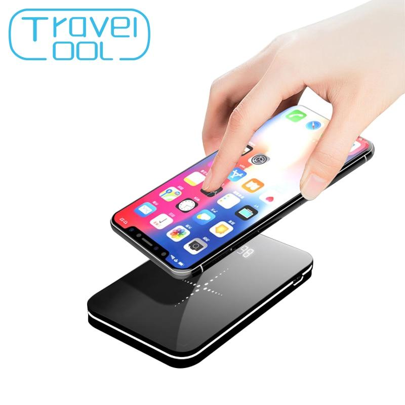 [해외]Travelcool 8000mAh Portable Power Wireless Power Bank Mirror Design Wireless Charging Qi Powerbank Built-in Cable Mobile Phone/Travelcool 8000mAh