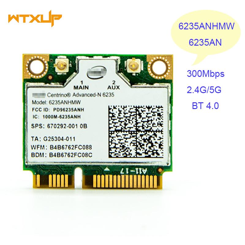 [해외]인텔 센트리노 고급 -N 6235 6235ANHMW 블루투스 4.0 미니 PCI-E 2.4G / 5Ghz Wlan + BT 4.0 카드 용 WTXUP 노트북 무선 LAN 카드/WTXUP Laptop wireless Lan Card for Intel Centrin